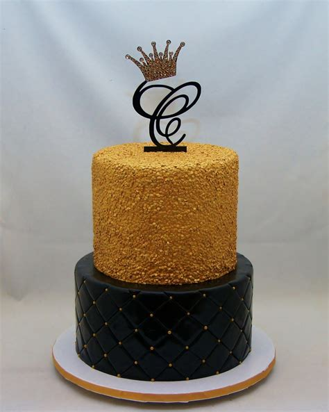 Black & Gold Sequins Cake - - Cake in Cup NY