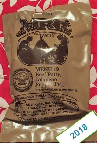 2018 US MILITARY ISSUE MEALS READY TO EAT - MRE - PICK A