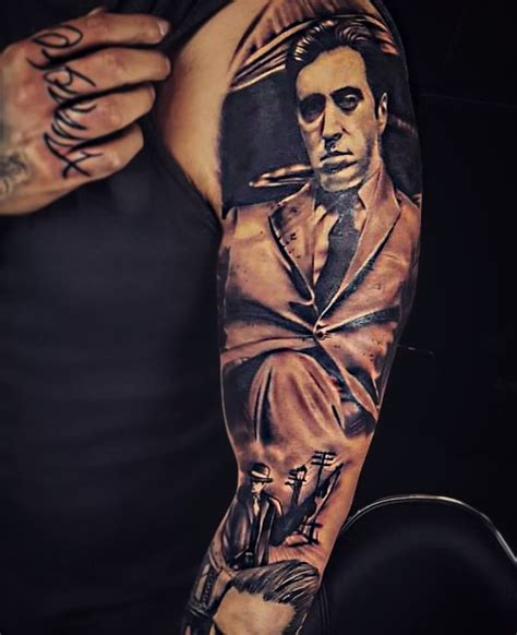 Godfather tattoo gangster sleeve | Tatoeages